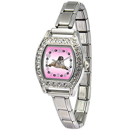 (Timest - Welsh Springer Spaniel - Womens Stainless Steel Italian Charms Bracelet Watch BJ1084)