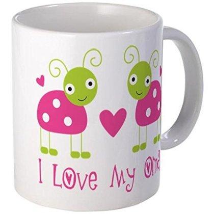 - 11 ounce Mug - I Love Oma Ladybug Mug - S White