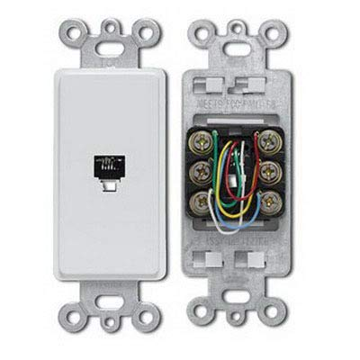 Leviton 40638-W Telephone Jack, 6P6C Decora Insert Flush Mount - White - Leviton Decora Insert Flush Mount