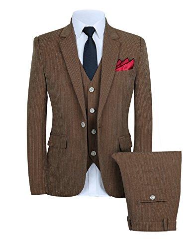 Mens Slim Fit 3 Piece Suits Set Pinstripe Dress Suit One Button US Size 36 (Label XXL) Brown ()