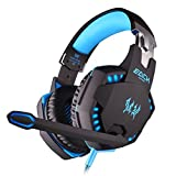 TurnRaise EACH G2100 Professional Game Gaming Stereo Headphone Headset w/ Mic, Vibration Function, Bass LED Light for PC Pro Gamer - Blue