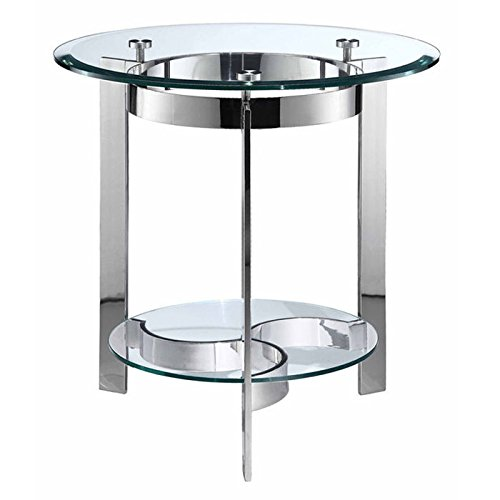 Stein World Furniture Mercury Round End Table, Silver - Mercury Finish Glass