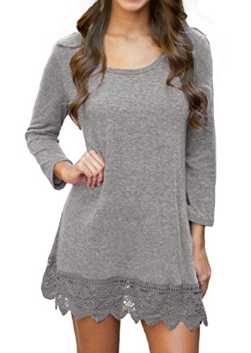 POZON Women Bohemian Flare Sleeve Lace Splice Loose Tunic Dress (S, Grey)