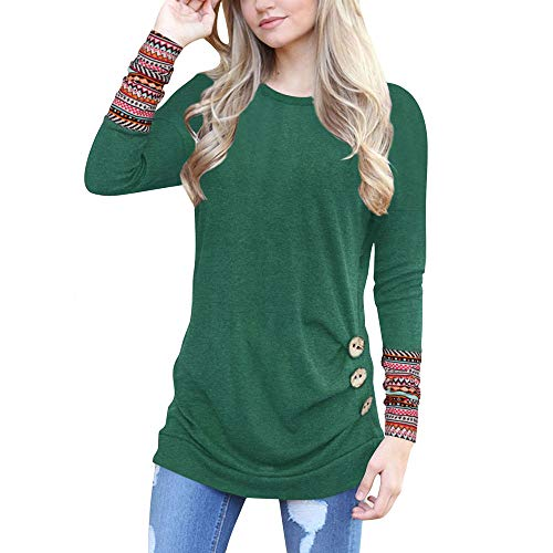 Clearance Women Tops LuluZanm Patchwork Round Neck Tunic T-Shirt Women Long Sleeve Loose Button Trim Blouse