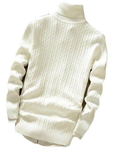 WSPLYSPJY Men's Turtleneck Long Sleeve Slim Knit Cable Jumper Sweater 1 S