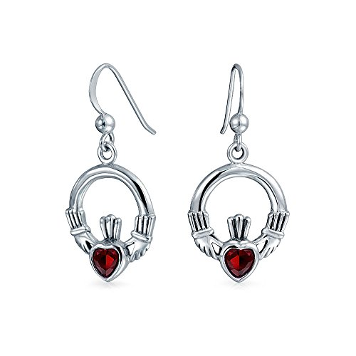 Claddagh Celtic Friendship Circle Red Heart Dangle Earrings For Women Fish Hook Simulated Ruby Glass Sterling Silver