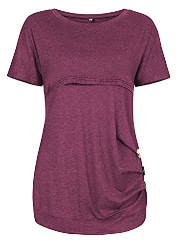 Amazing speed Women Breastfeeding Nursing Tops Button Side Short Sleeve Maternity Shirt (Burgundy, L)