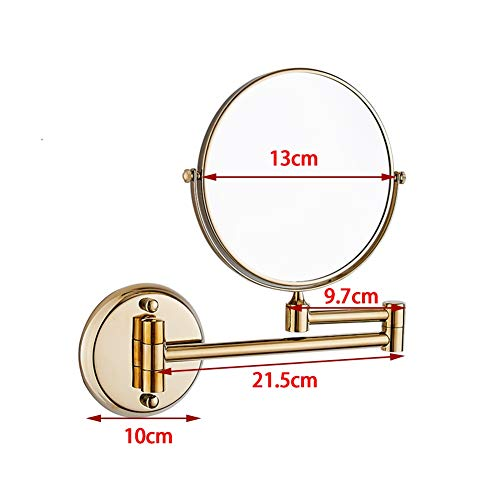 Makeup Mirror Magnifying Rotate Detachable Gold Double Mirror Punch Free Antirust Fast -