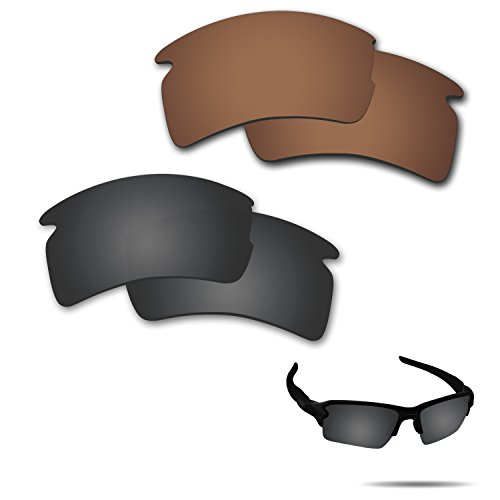 Fiskr Anti-saltwater Polarized Replacement Lenses for Oakley Flak 2.0 XL Sunglasses 2 Pairs Packed (Stealth Black & Bronze Brown) (Sunglasses Replacement Lenses Bronze Mirror)