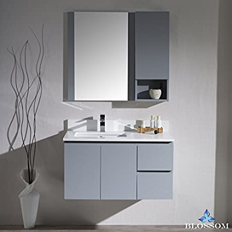 BLOSSOM 000 36 15 L WH M Monaco 36 Wall Mount Left Vanity Set With Mirror And Wall Cabinet Metal Gray