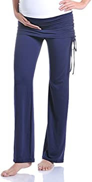 Beachcoco Women's Maternity Fold Over Ruched Drawstring Pants Made in