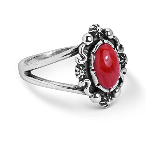 - Sterling Silver Red Coral Swirl Oval Ring Size 8