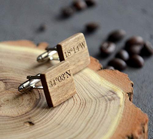 Engraved Stud Cufflinks - Custom Coordinate Gift Wooden Cuff links Coordinate Jewelry Wood 5 Anniversary Gift for Husband Boyfriend Him Men by Enjoy the wood