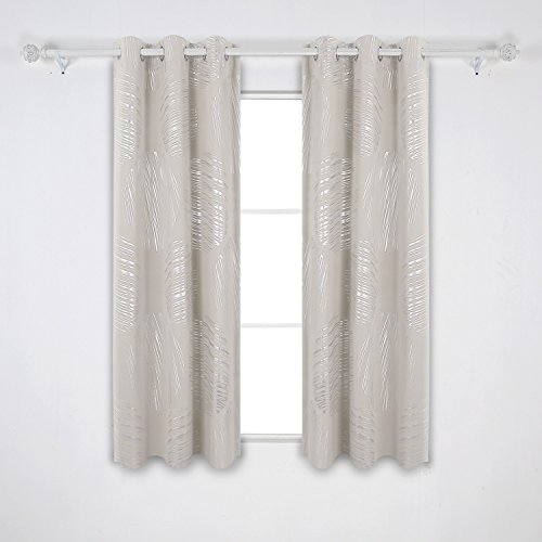 - Deconovo Foil Circle Print Blackout Curtains Thermal Insulated Light Blocking Window Panel Drapes for Living Room 42 x 63 Inch Light Beige 2 Panels