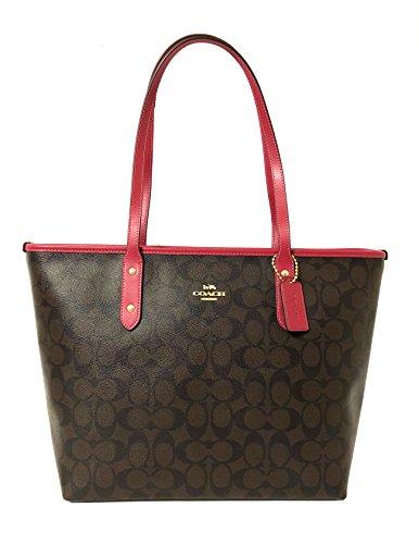 Coach Signature City Zip Tote Bag Handbag (IM/Brown Hot Pink)