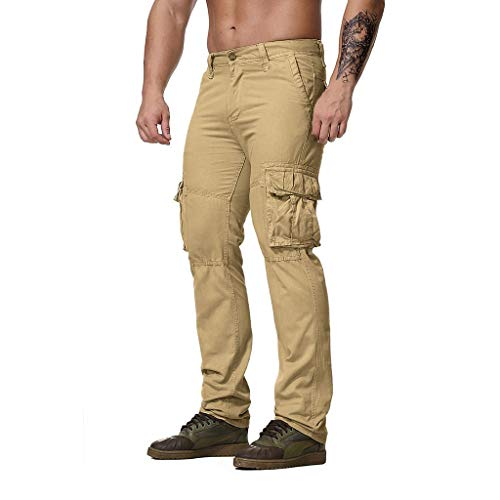 YKARITIANNA 2019 Men's Regular Fit Pants, Cargo Pants Trousers Uniforms Work Safety Clothing Work Utility Safety Pants Khaki