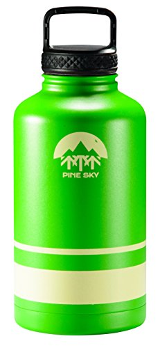 64oz Stainless Steel Growler and Wide Mouth Water Bottle by Pine Sky - 2 Lid Package (64 oz, Longleaf Green)