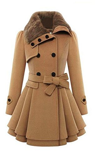 Women's Fashion Faux Fur Lapel Double-breasted Thick Wool Trench Coat Jacket Camel X-Large