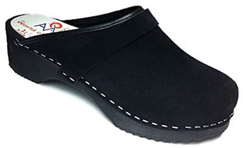 - AM-Toffeln 100 Wooden and Black Suede Leather Clogs - Size 36