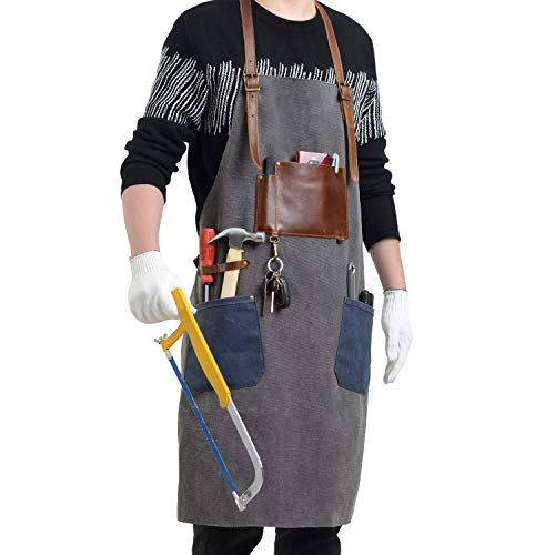 Flipzon Work Apron for Men Women Heavy Duty Canvas Mens Apron Shop Apron for Woodworking Barber Blacksmith Carpenter Barista with Leather Pockets,Cross-Back Straps Design,Adjustable S to XXXL (Grey)