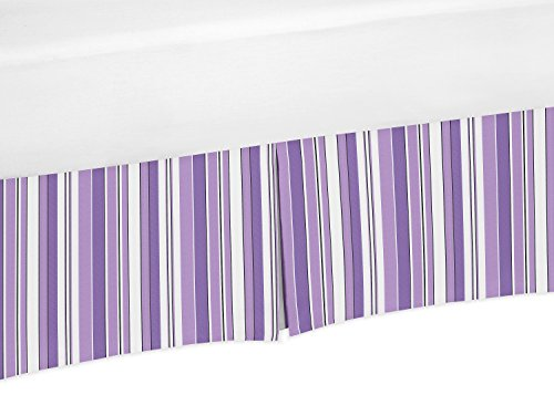 Purple, Black and White Stripe Crib Bed Skirt Dust Ruffle for Girls Kaylee Collection Baby Bedding - Collection Kaylee