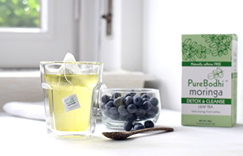 Moringa tea Detox & Cleanse by PureBodhi Moringa - 100% pure Moringa Oleifera leaf infusion - Cleanse and Detox. Caffeine free. (Miracle Tea Morning)