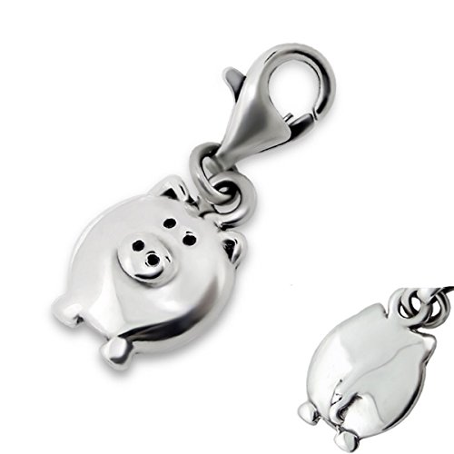 Pig Charm - Pig Charm with Lobster Clasp Sterling Silver for Charm Bracelet or Necklace (E5447)