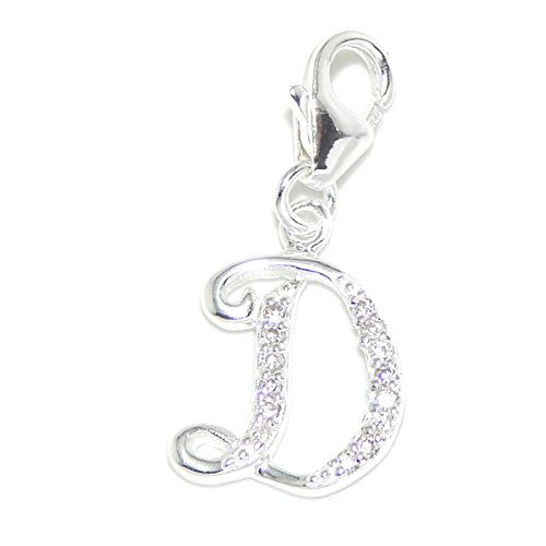 """Pro Jewelry .925 Sterling Silver Dangling """"White CZ Letter 'D'"""" Clip-on Charm Bead 3576"""