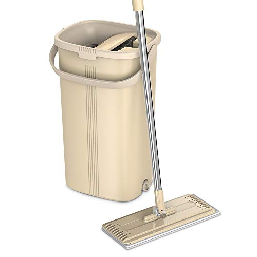 TETHYS Flat Floor Mop and Bucket Sets for Professional Home Floor Cleaning System with Aluminum Handle/2-Washable Microfiber Pads Perfect Home + Kitchen Cleaner for Hardwood, Laminate,Tiles, Vinyl