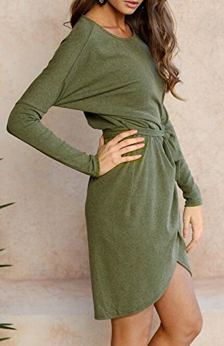 Sleeve Short Crewneck Stylish Womens Long Dress Solid Cruiize Autumn Green 0RIYZqWwA