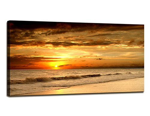 Youkuart Canvas Wall Art - Beautiful Tropical Sunrise on the Beach. - Modern Home Decor Stretched and Framed Ready to Hang