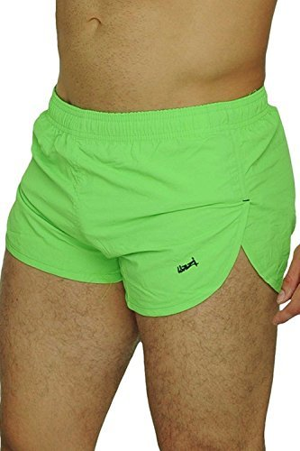 UZZI Men's Basic Running Shorts Swimwear Trunks 1830 Neon Green XL by UZZI
