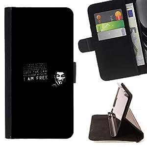Momo Phone Case / Flip Funda de Cuero Case Cover - V para la máscara de la venganza obedecer la ley;;;;;;;; - Apple Iphone 5 / 5S
