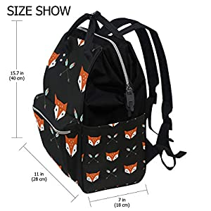 ALINLO Cute Animal Fox Arrow Pattern Diaper Bags Mummy Tote Bags Large Capacity Multi-Function Backpack for Travel