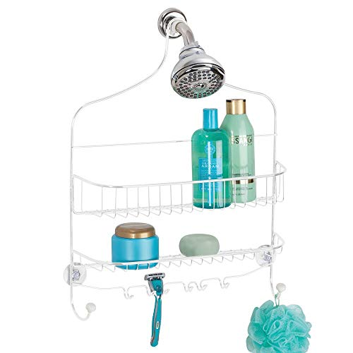 mDesign Extra Wide Metal Wire Bathroom Tub and Shower Caddy, Hanging Storage Organizer Center with Built-in Hooks and Baskets on 2 Levels, Rust Resistant - White