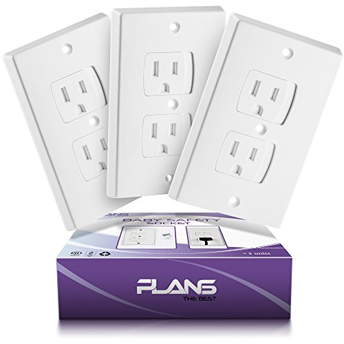 Plans Best Child-Safety Self-Closing Outlet Covers - 3 Electrical Socket Covers from PLANS THE BEST