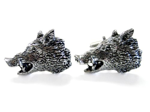 Side Looking Wild Boar Cufflinks by Kiola Designs