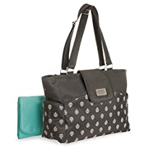 Carter's CA11317 Carry It All Tote Diaper Bag Grey Leaf Print, Black
