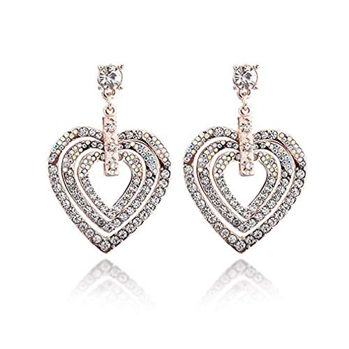 Windoson Europe and America Exaggerated Diamond Three-Layer Love Earrings Exquisite Banquet Small Fragrance Accessories (Gold) ()