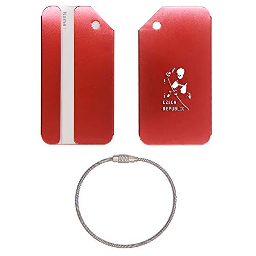 (ICE HOCKEY CZECH REPUBLIC STAINLESS STEEL - ENGRAVED LUGGAGE TAG - SET OF 2 (SCARLET RED) - FOR ANY TYPE OF LUGGAGE, SUITCASES, GYM BAGS, BRIEFCASES, GOLF BAGS)