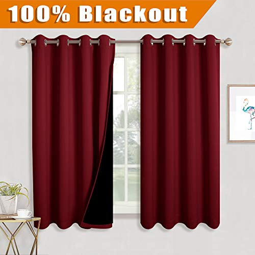 RYB HOME Complete Blackout Draperies with Black Liner for Kids' Nursery Room, Energy Efficient Curtains Wall Panels for Hall and Studio, W 52