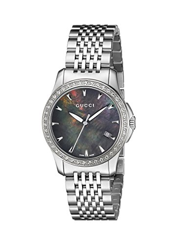 GUCCI Women's YA126507 G-Timeless Black Mother-Of-Pearl Diamond Dial Watch