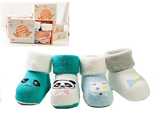Super Soft Cotton BABY Socks Gift Set, Cute Animal Design, 4 Pairs Gift Boxed. Unisex Kids Socks, Perfect Gift Idea, 0- 6 months