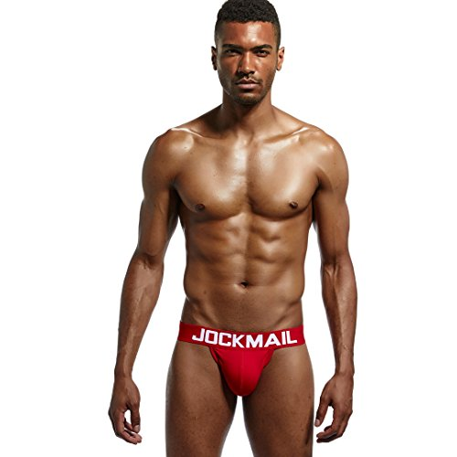 Jockmail 4pcs/Pack(4color Brand Men Underwear Briefs Sexy Gay Backless Mens Underwear Jockstrap Briefs Pouch Thong Gay Underwear Male Panties (M) by Jockmail