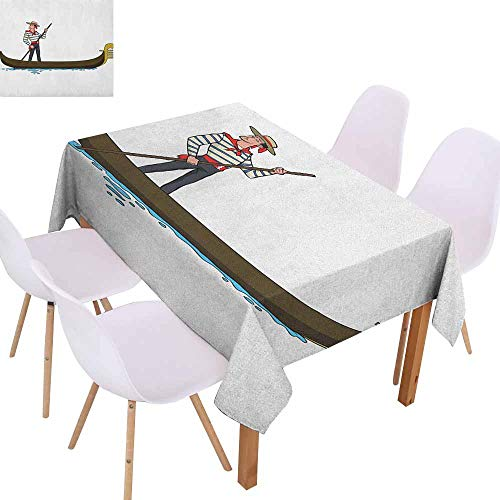 Waterproof Tablecloth Cartoon Image of Gondola in Romance City Venice European Symbol of Love Italian Design Party W54 xL84 Brown White