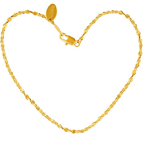 Lifetime Jewelry Anklets for Women Men and Teen Girls - 24K Gold Plated 1.2mm Twisted Nugget Chain - Durable Anklet for Beach or Party - Cute Yellow Gold Ankle Bracelet ()