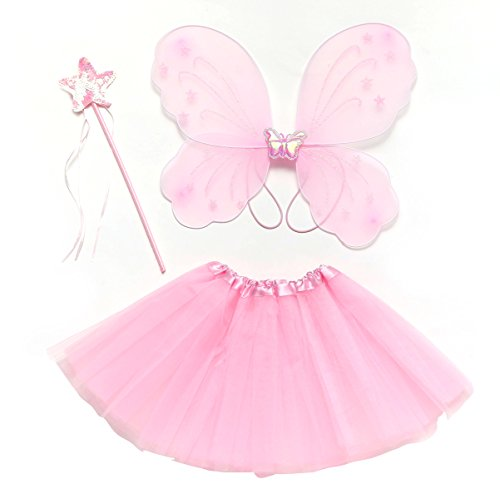 GOODTECK Baby Girls Dress Up Tutu Set with Fairy Wings