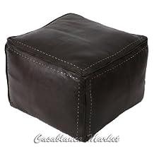 Moroccan Leather Pouf, White Stitching Dark Brown (Stuffed)