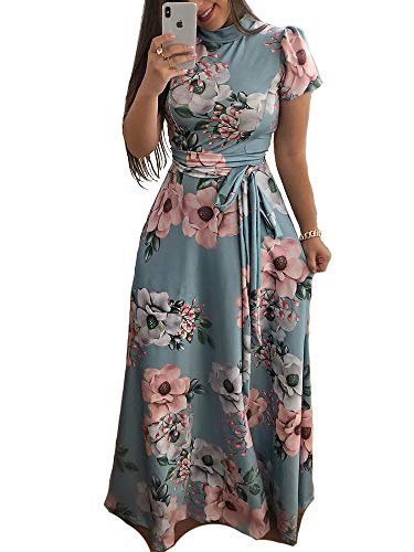 Aublary Women's Floral Maxi Dress 3/4 Sleeve Faux Wrap Maxi Long Dresses with Removable Belt (Light Blue-Short Sleeve, S)