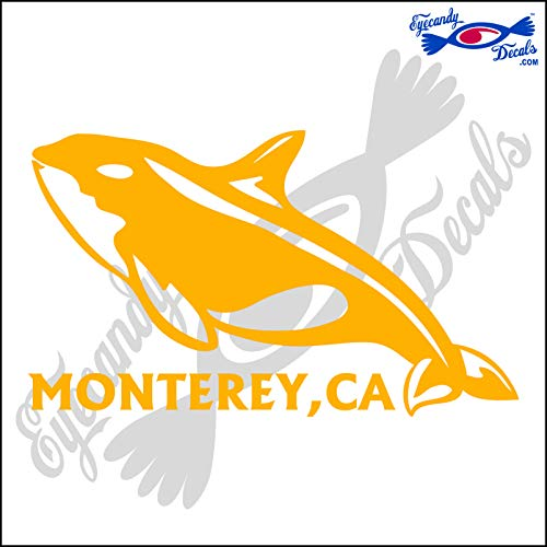 Eyecandy Decals ORCA Killer Whale with Monterey Bay California 6 INCH Decal Light Orange